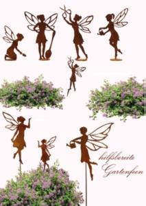 helfende Gartenfee Feendekoration im Garten mit Deko aus Rost