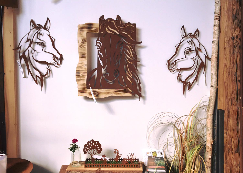 Zeige Grösseres Bild Edelrost Wandbilder Rostschilder An Weißer Wand ·  Edelrost Wandbild Ohne Rostflecken Pferdedeko Rostig Indoor